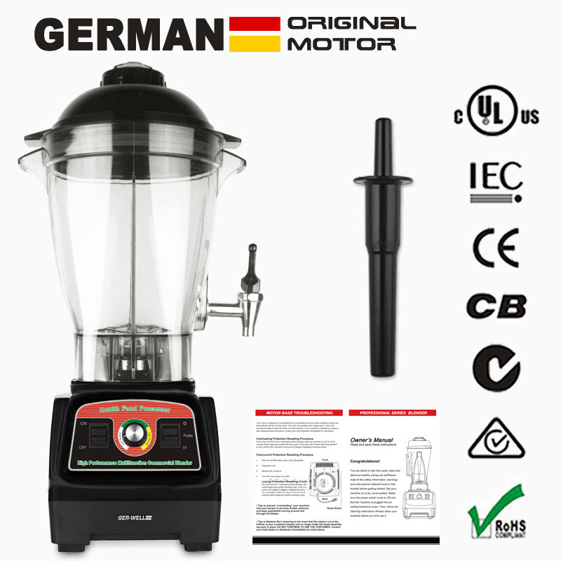 GER-WELL G7600 Blender with Tamper 2800W 6L Adjustable Speed Efficient Power Metal Connect System GERMAN Original Motor Commercial Soybean Grinding Machine