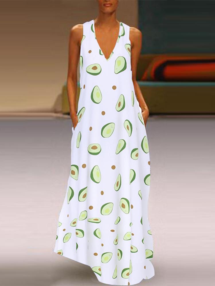 Women Casual Avocado Print V-Neck Sleeveless Maxi Dress