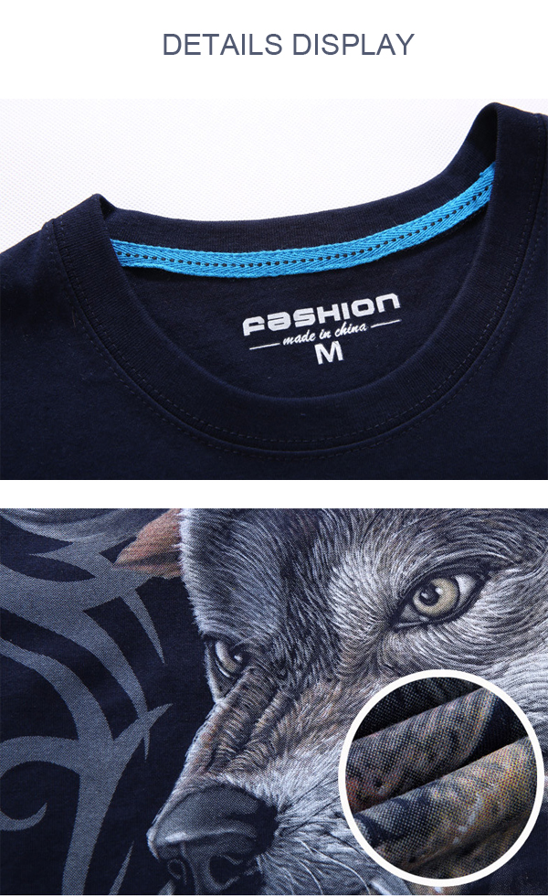 b2fc9326e8a4 Mens Wolf 3D Animal Skull Printing Plus Size Tees Summer Personality Short  Sleeve T-shirt