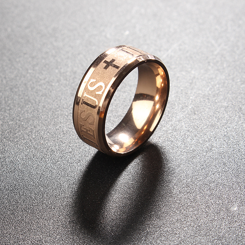 8mm Gold Cross Jesus Polished Titanium Steel Men Male Ring Jewelry