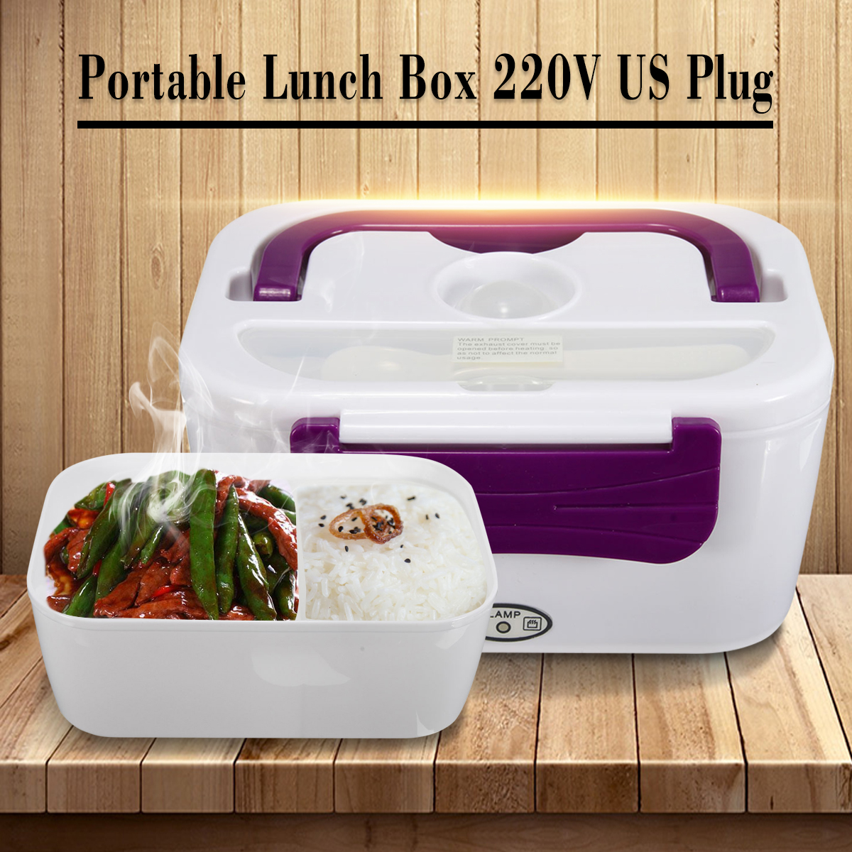 220V Portable Electric Heated Heating Lunch Box Bento Box Healthy Food Warmer