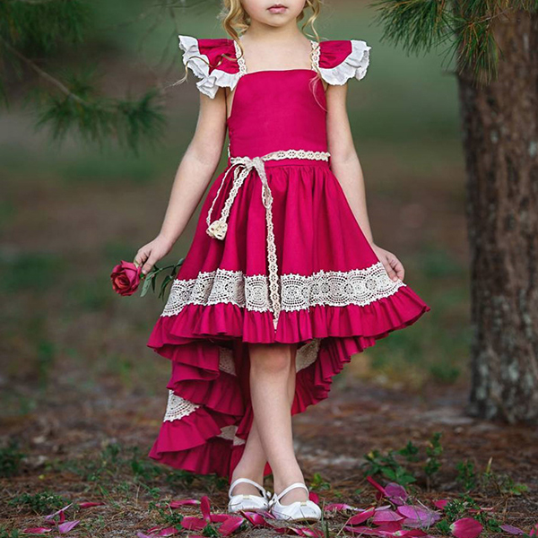 Girls Children Lace Patchwork Sleeveless Princess Dress