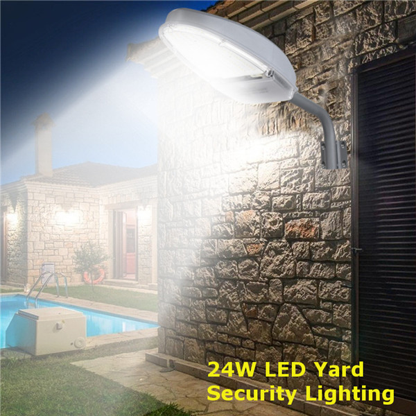 24W Light Control Radar Sensor 144 LED Road Street Lights Flood Lamp for Outdoor Yard AC85-265V