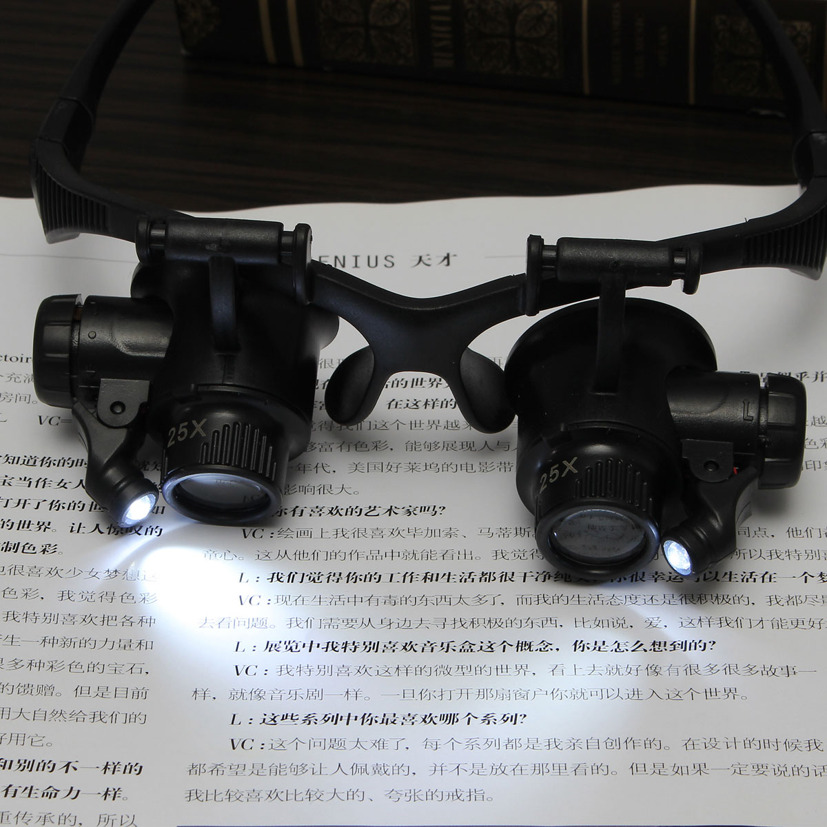 10X 15X 20X 25X Spectacles Glasses LED Lamp Magnifier Loupe Jewellery Maintain with 8pcs Replacement