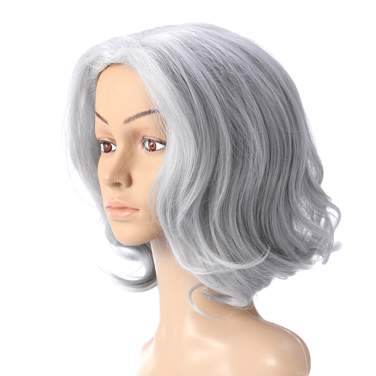 Silver Grey Short Curly Wavy Full Wigs