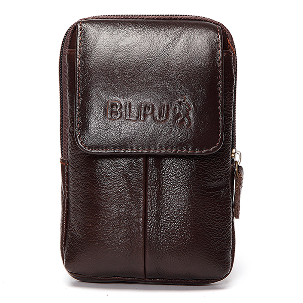 6inch Cell Phone Waist Bag Men Retro Cowhide Leather Waist Bag