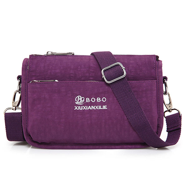 Women Nylon Light Messenger Bags Casual Shoulder Bags Front Pockets Waterproof Crossbody Bags