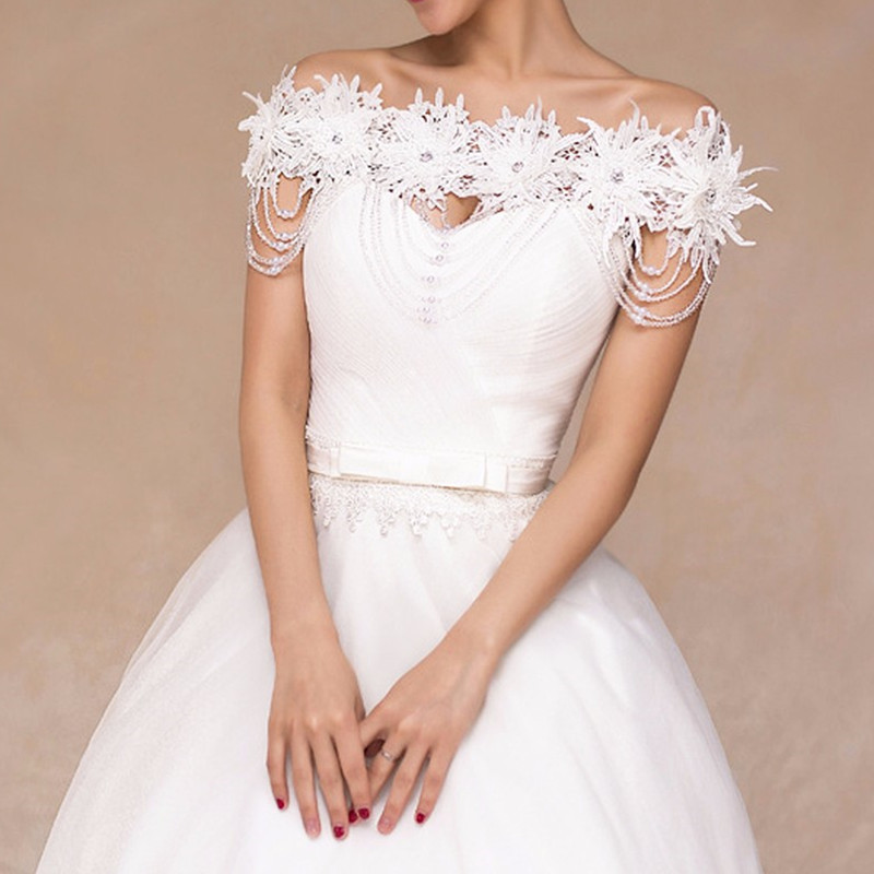 Bride Diamond Pearl Bead Chrysanthemum Flower Lace Shoulder Chain Bridal Wedding Dress Accessories