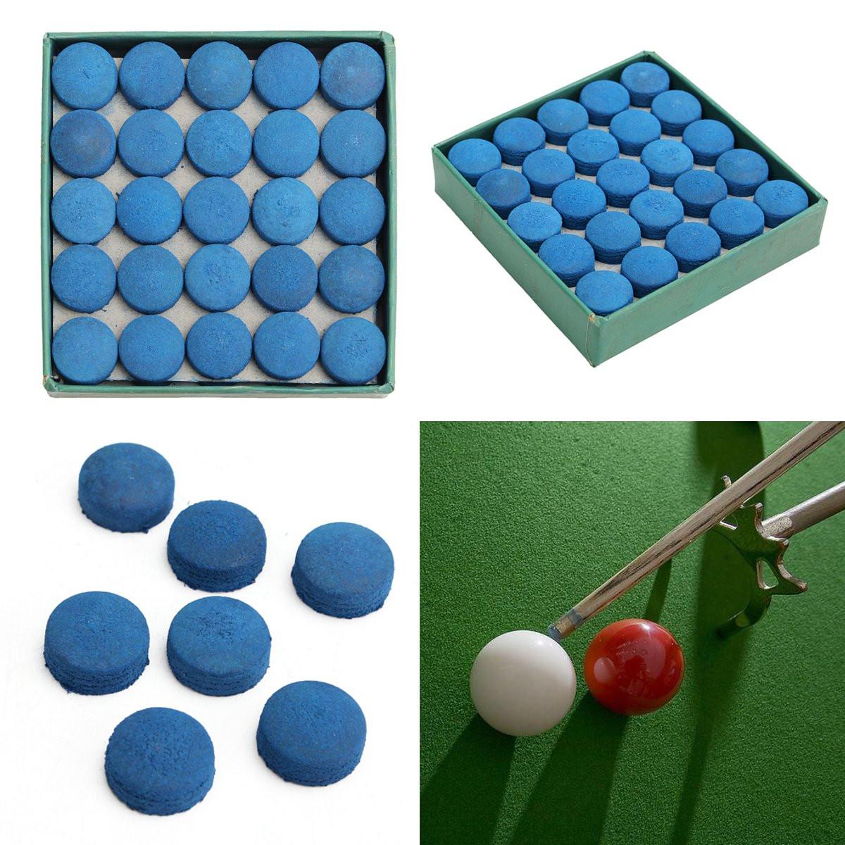 50Pcs Pegamento Piscina Billar cuero azul Cue Tips Caja Juego Sport 9mm 10mm 13mm