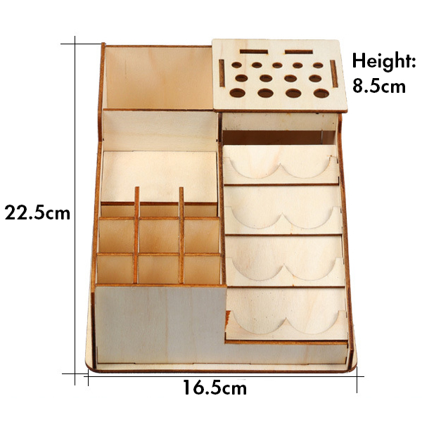 22.5x16.5x8.5cm Wooden Colorant Paint Resin Crafts Bottle Jar Stand Storage Rack Modular Organizer