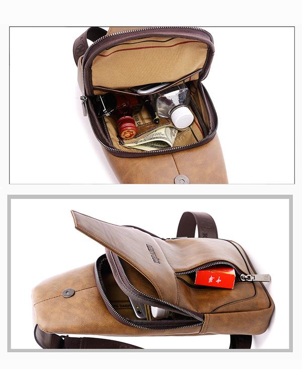 Men Retro PU Leather Chest Bag Waterproof Crossbody Bag