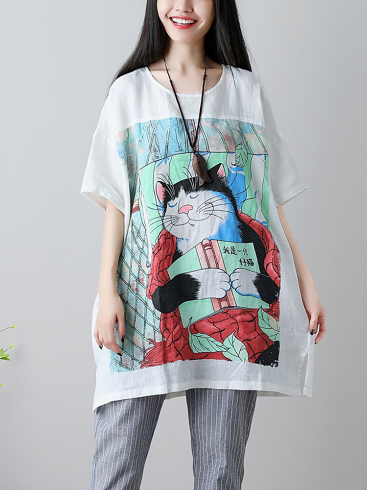 Plus Size Women Cartoon Cat Loose Cotton T-shirts