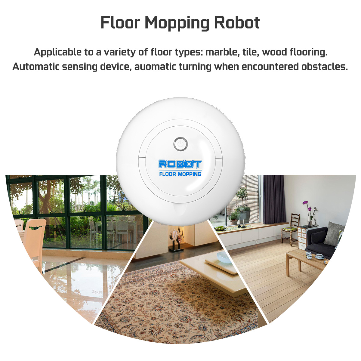 Automatic Robot Intelligent Vacuum Cleaner Quiet Floor Mopping Robot for Carpet Marble