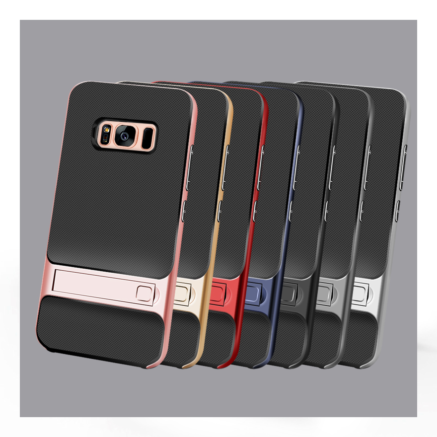 TPU+PC Silicon Hybrid Stand Holder 3D Kickstand Back Cover Armor Case for Samsung Galaxy S8 Plus