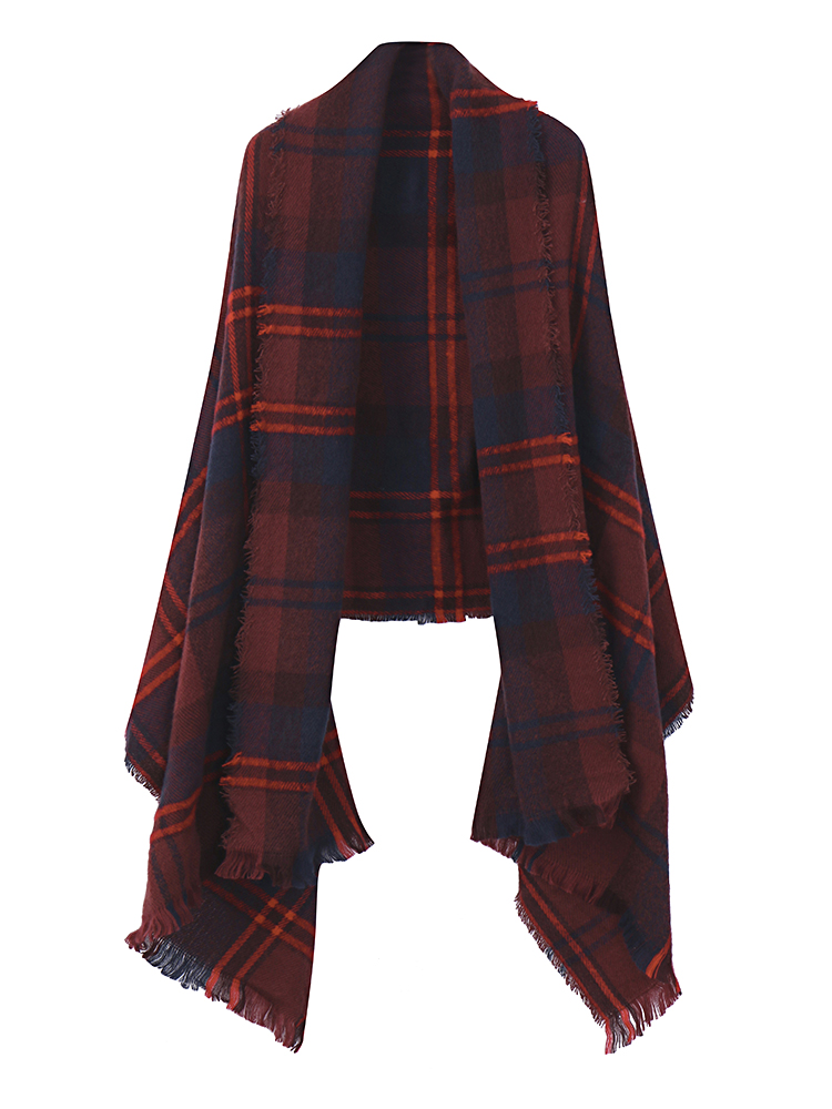 Women Multicolor Plaid Striped Fringed Tassel Blanket Wrap