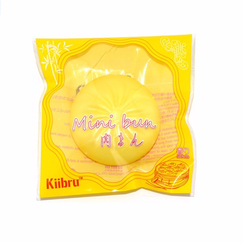 Kiibru Licensed Squishy Bun Pink Yellow 6cm With Original Packaging Chain Phone Bag Strap Gift Decor