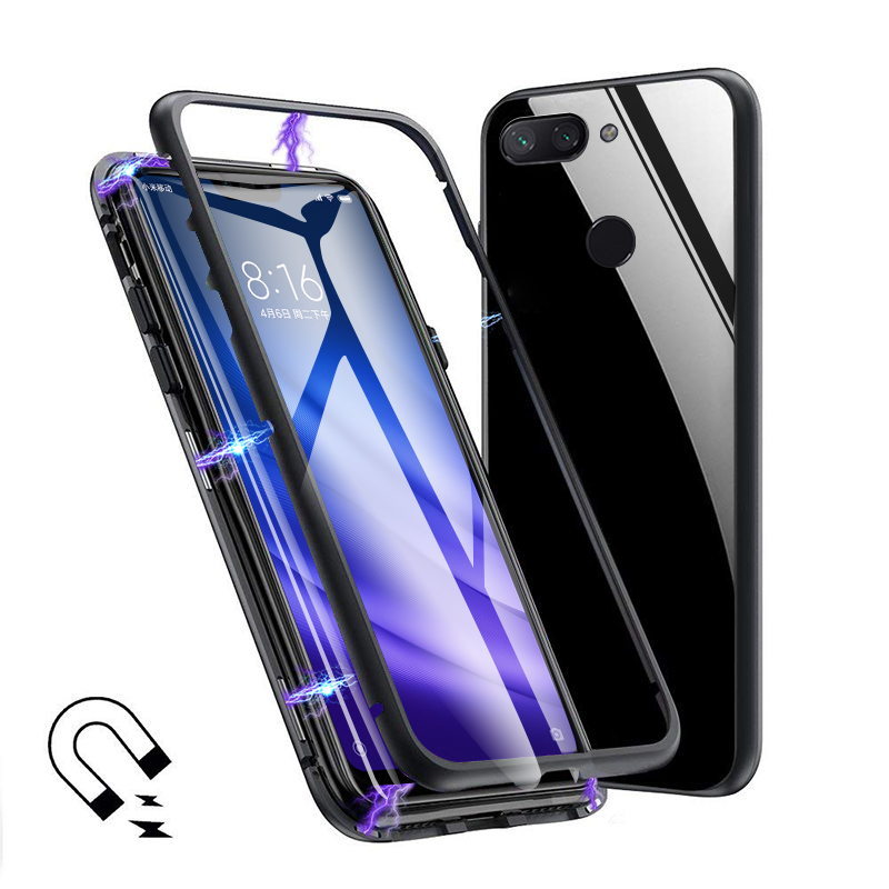 Bakeey 360 Magnetic Adsorption Metal Tempered Glass Flip Protective Case for Xiaomi Mi 8 Lite