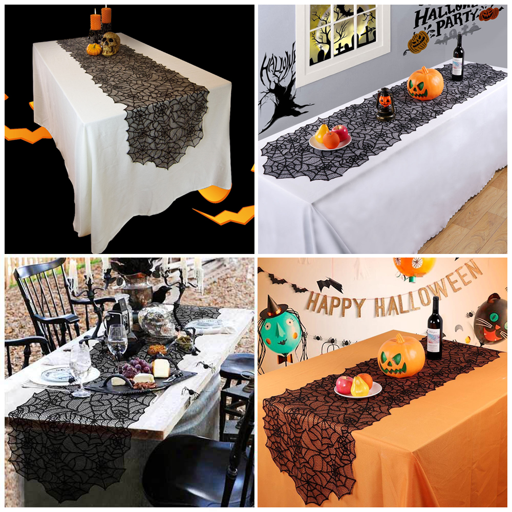 Halloween Decorations Black Lace Spider Web Fireplace Table Cover Haunted House Prop