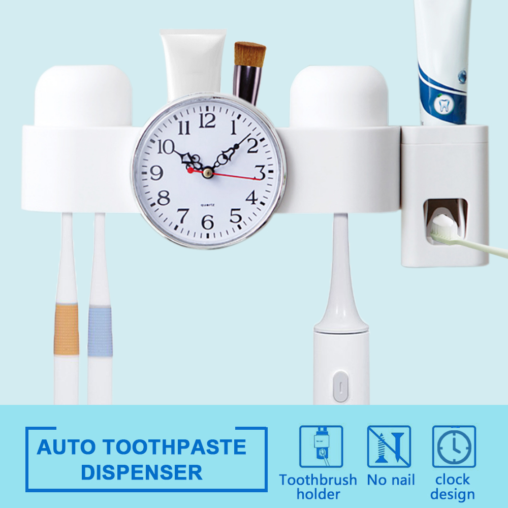 Anti-dust Toothbrush Holder with Toothpaste Dispenser Wall Mounted Bathroom Multi-purpose Strong Suction Toothbrush Caddy