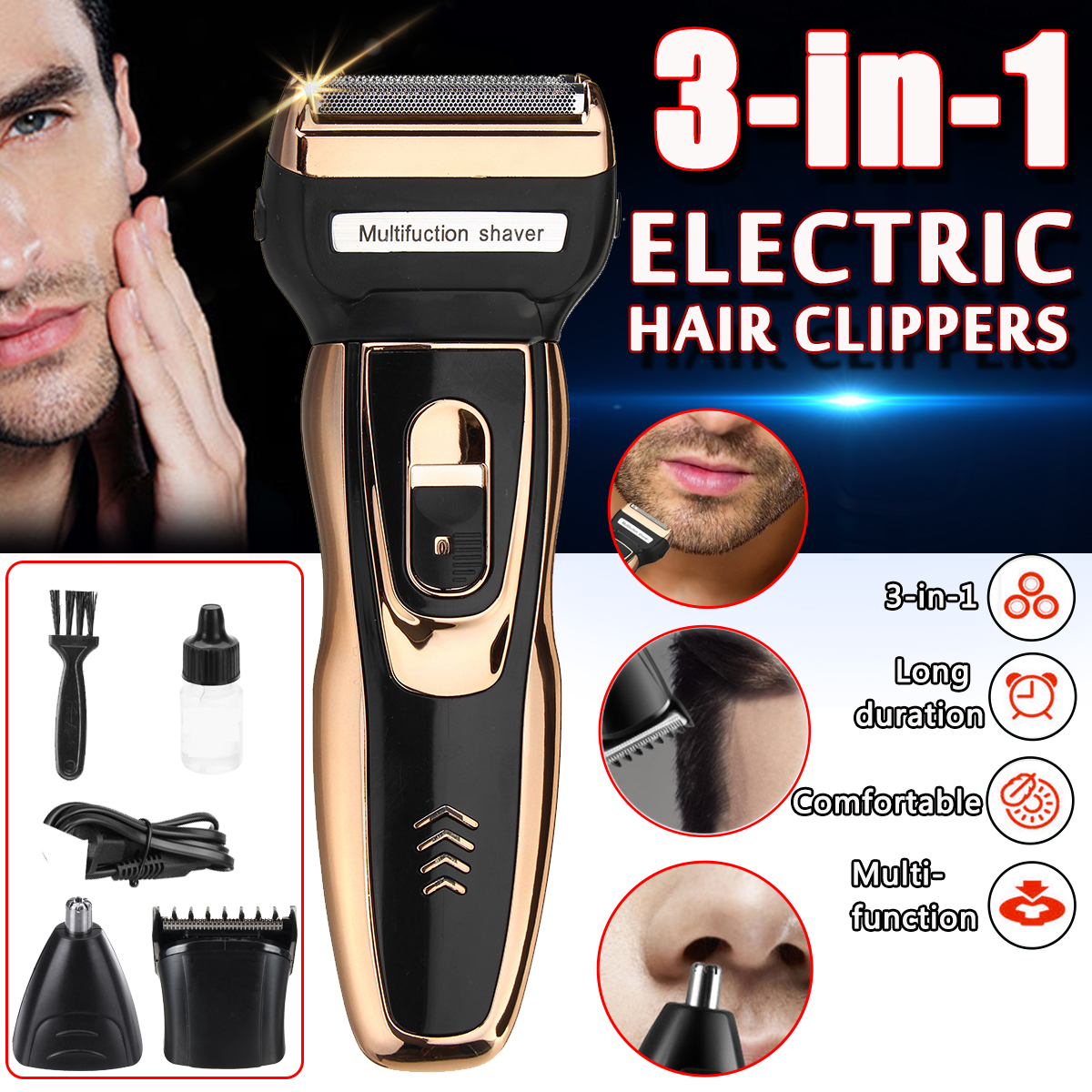 3 in 1 Electric Razor Rechargeable Mens Electric Shaver Groo