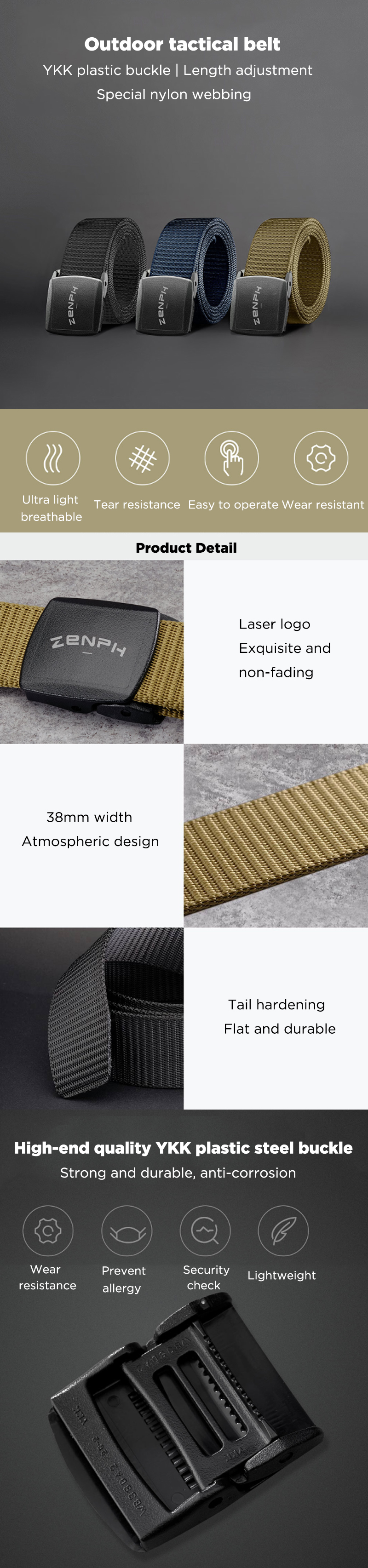 ZENPH 125cm Nylon Waist Belt Punch Free Tactical Belt From XIAOMI YOUPIN