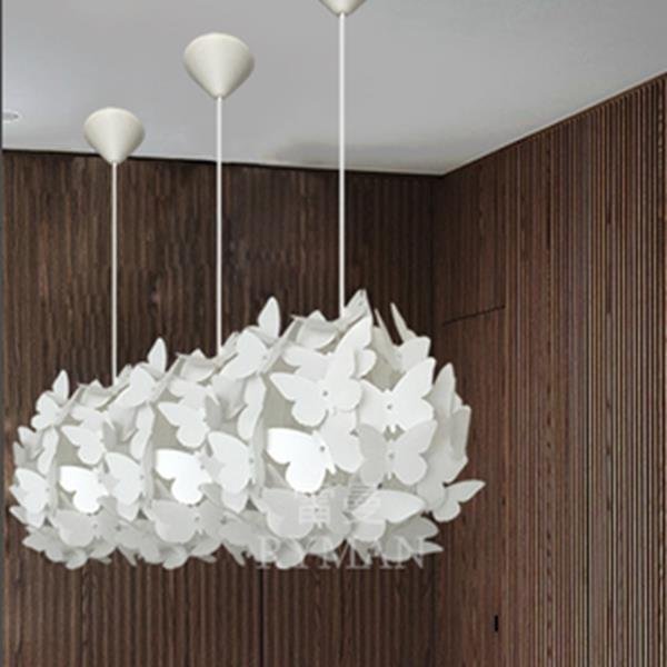 Modern AC110-220V E27 White Butterfly Feathers Pendant Ceiling Chandelier Light for Living Room