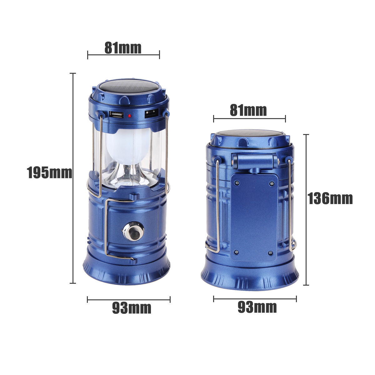 4 In 1 Camping Tent Solar Lantern USB Rechargeable LED Flashlight Torch Hand Lamp