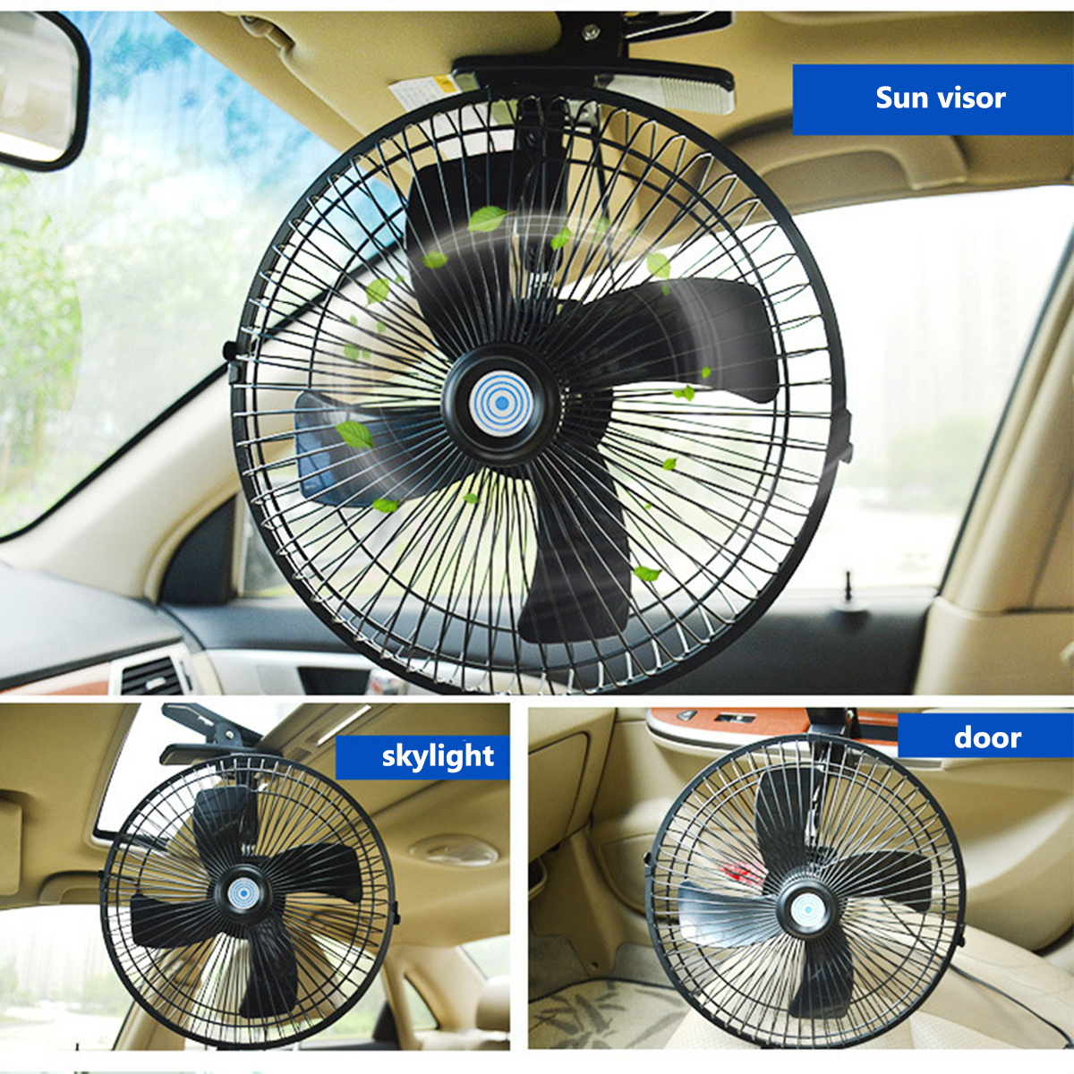 10 Inch 12/24V Car Clip On Cooling Fan 2 Speed Airflow for Home Boat Truck Caravan