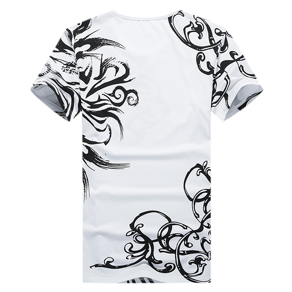 Summer Trend Fashion Leisure T-shirts Men's Chinese Style Printed O-neck Tops Tees