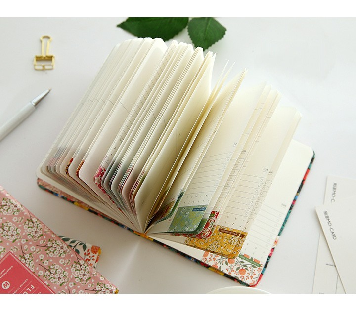 A6 PU Leather Floral Schedule Book Diary Weekly Planner Notebook School Office Supplies Stationery
