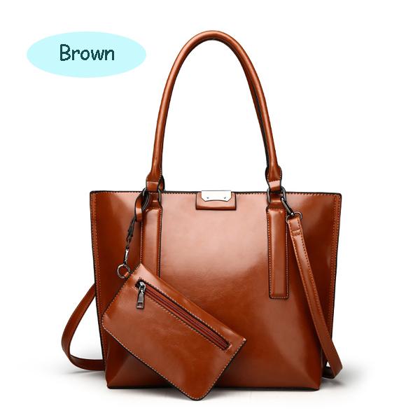 Female Vintage Pure Color Bags Big Handbags Crossbody Bags