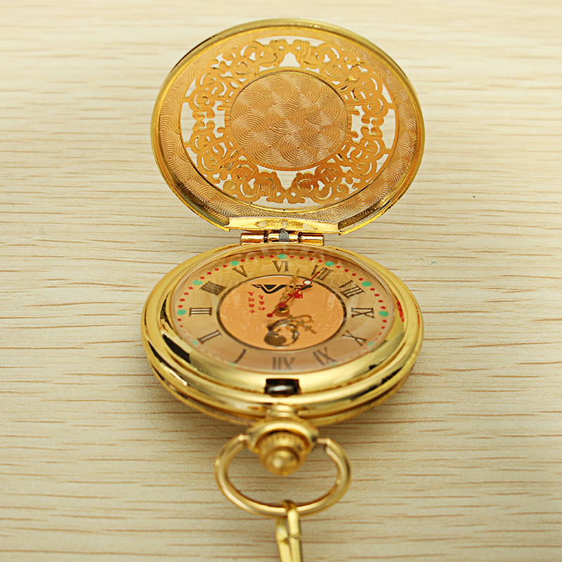 DEFFRUN Vintage Luxury Retro Emerald Stone Pocket Watch