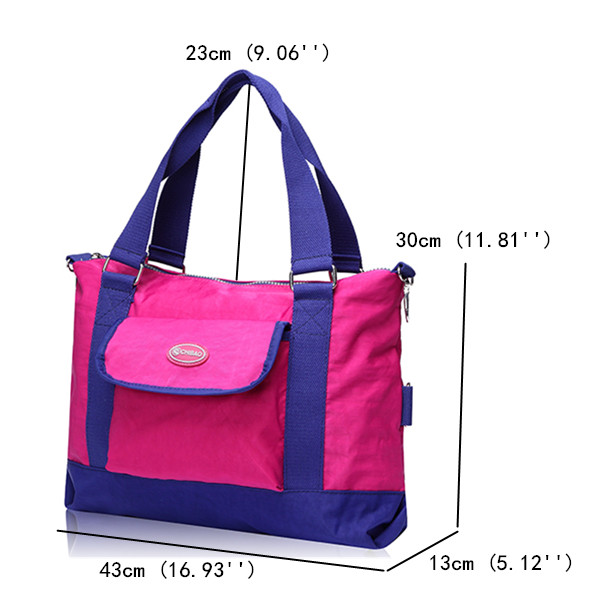 Women Oxford Waterproof Tote Handbags Front Pocket Shoulder Crossbody Bags Capacity Shopping Bags