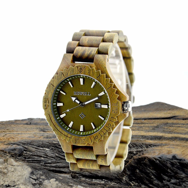 BEWELL ZS-W023C Fashion Casual Sandalwood Date Watch