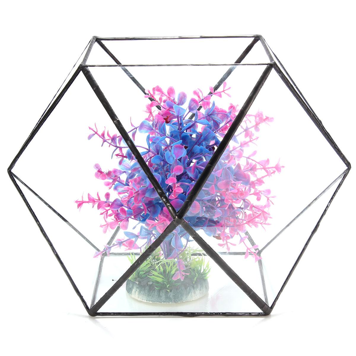 Polygon Greenhouse Glass Terrarium DIY Micro Landscape Succulent Plants Flower Pot
