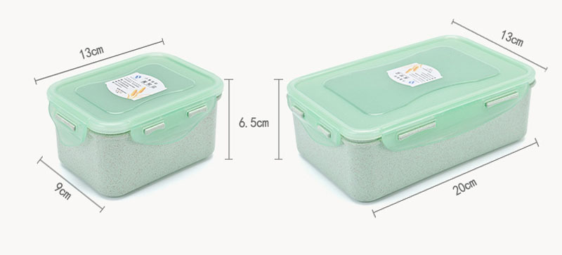 KCASA KC-BCH14 Wheat Straw Fiber Lunch Box Refrigerator Storage Eco Friendly Food Container 2 Size 3 Colors Food Storage with Leakproof Lids Reusable Microwavable Shatter-Proof & Freezer Safe