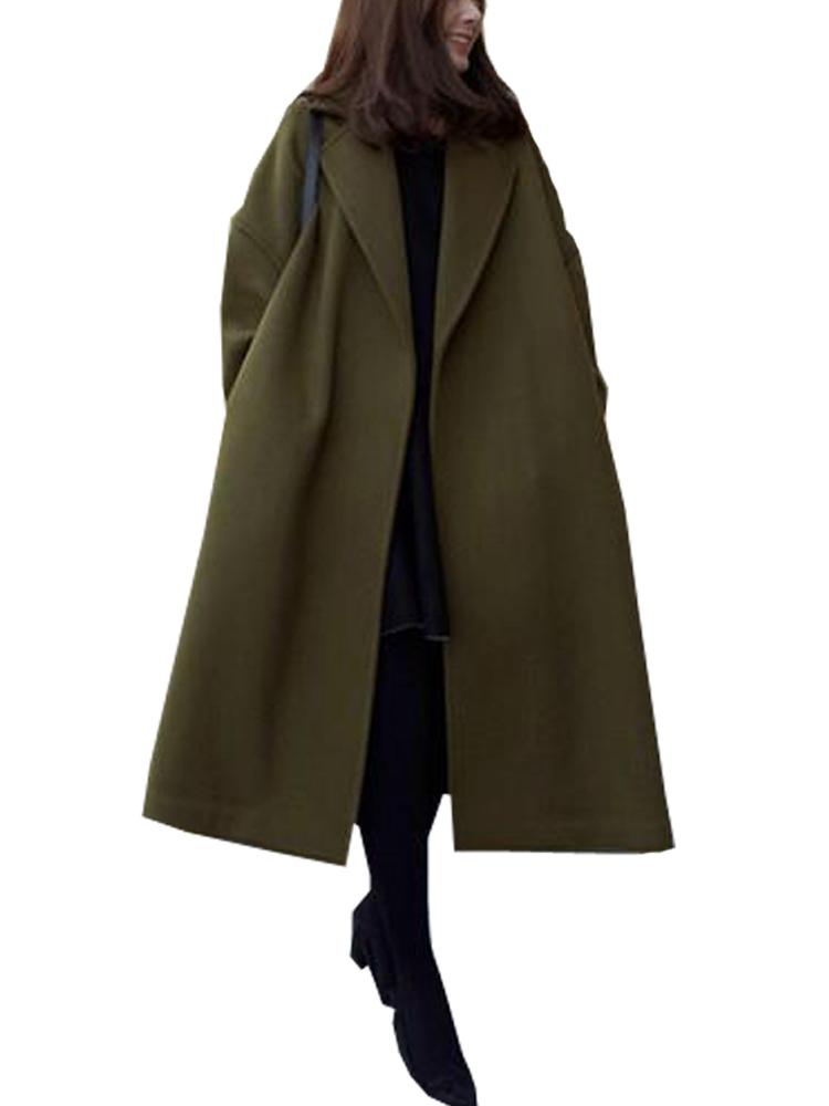 Women Casual Pure Color Wool Long Sleeve Long Coats