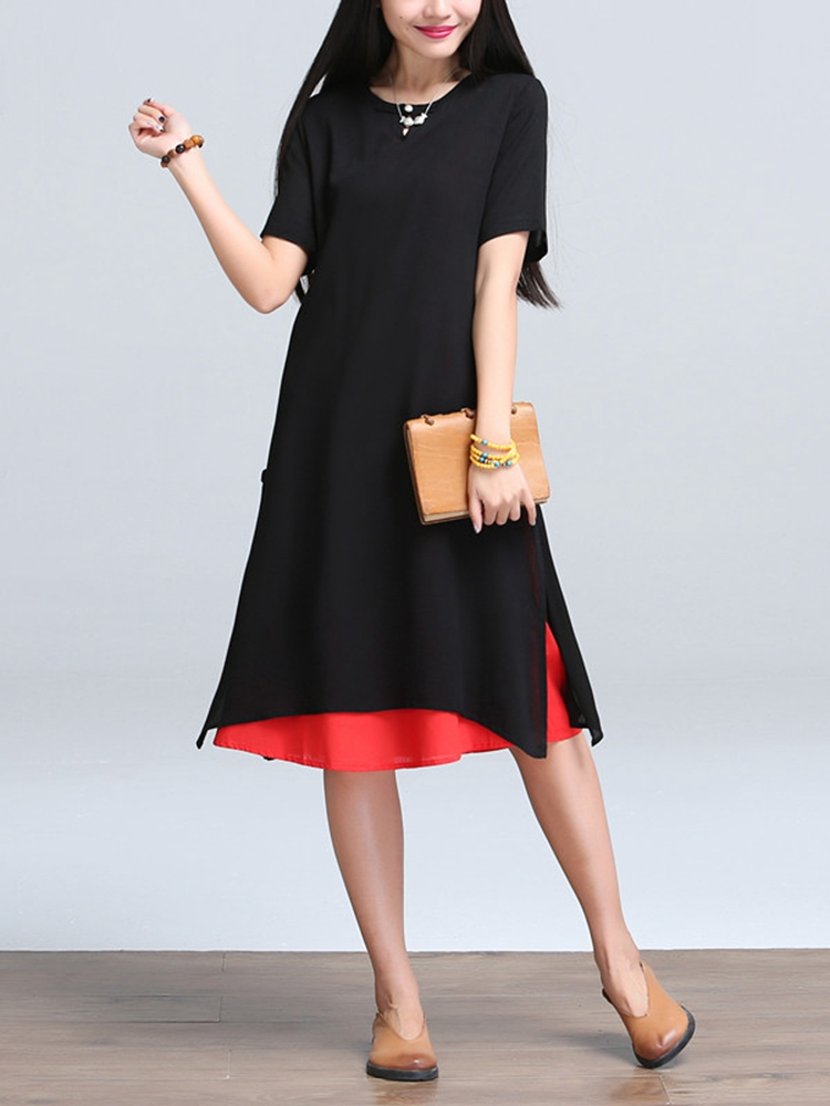 Women Ethnic Style Fake Two Piece O-Neck Loose Dress