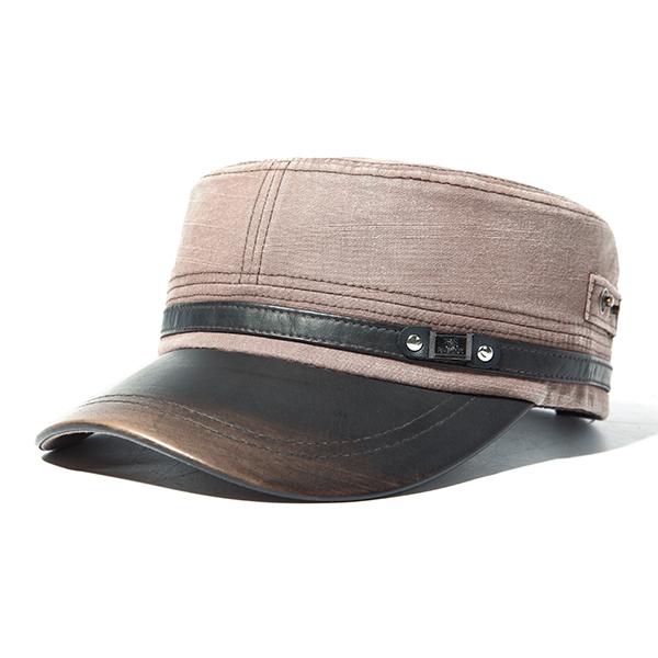 Mens Unisex PU Leather Brim Military Washed Baseball Cap