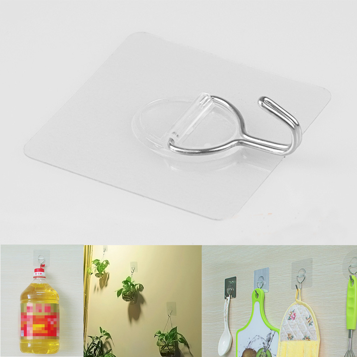 4Pcs 5kg Loading Clear Wall Hanger Hook Self Adhesive Stick Stainless Steel Hook for Bathroom Kitche