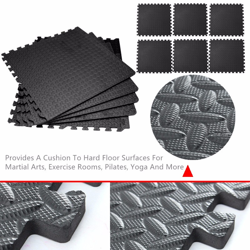 61x61cm EVA Foam Floor Interlocking Tile Mat Show Floor Gym Exercise Playroom Yoga Mat Black