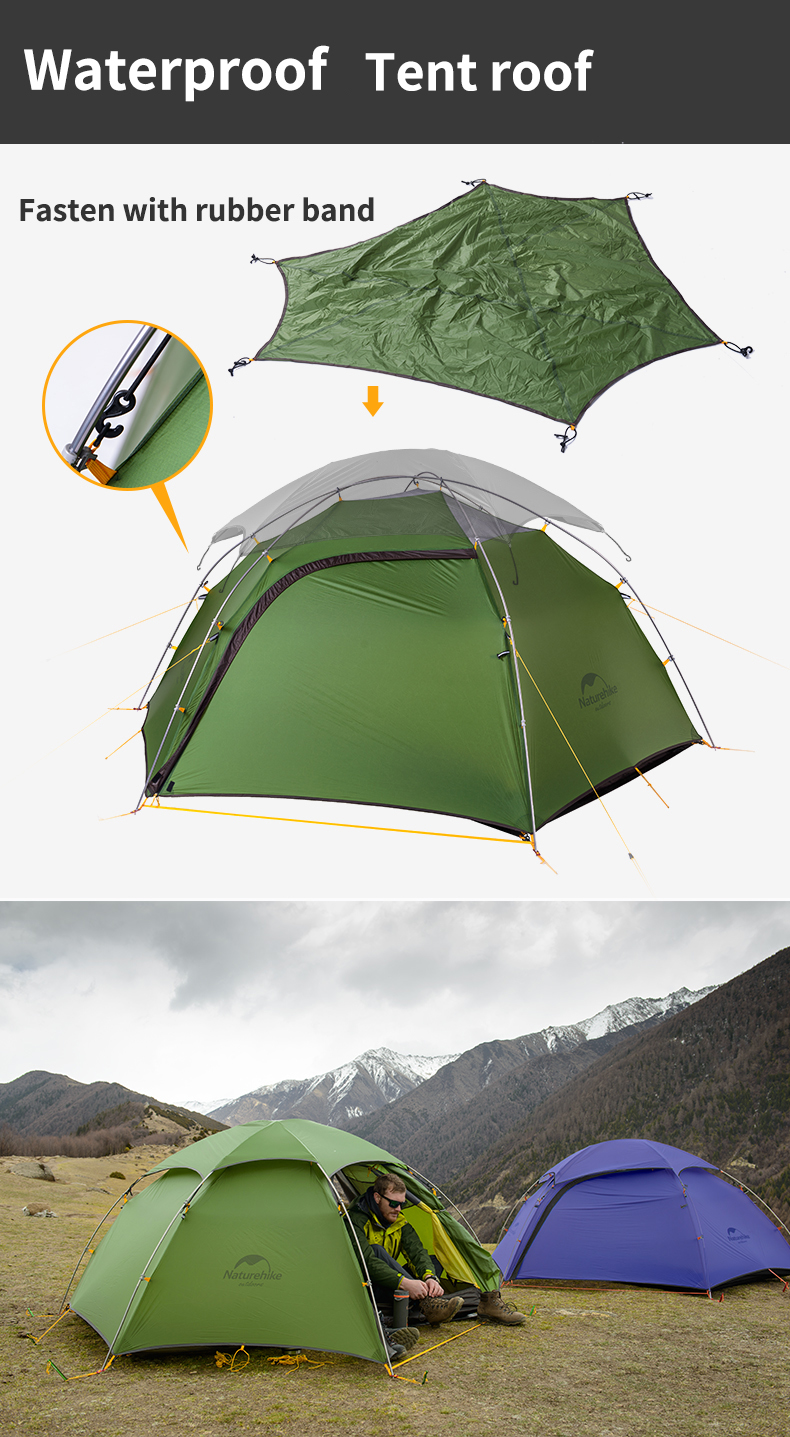 Naturehike 1-2 Person Outdoor Camping Tent Waterproof 20D Nylon Double Layer Canopy Sunshade