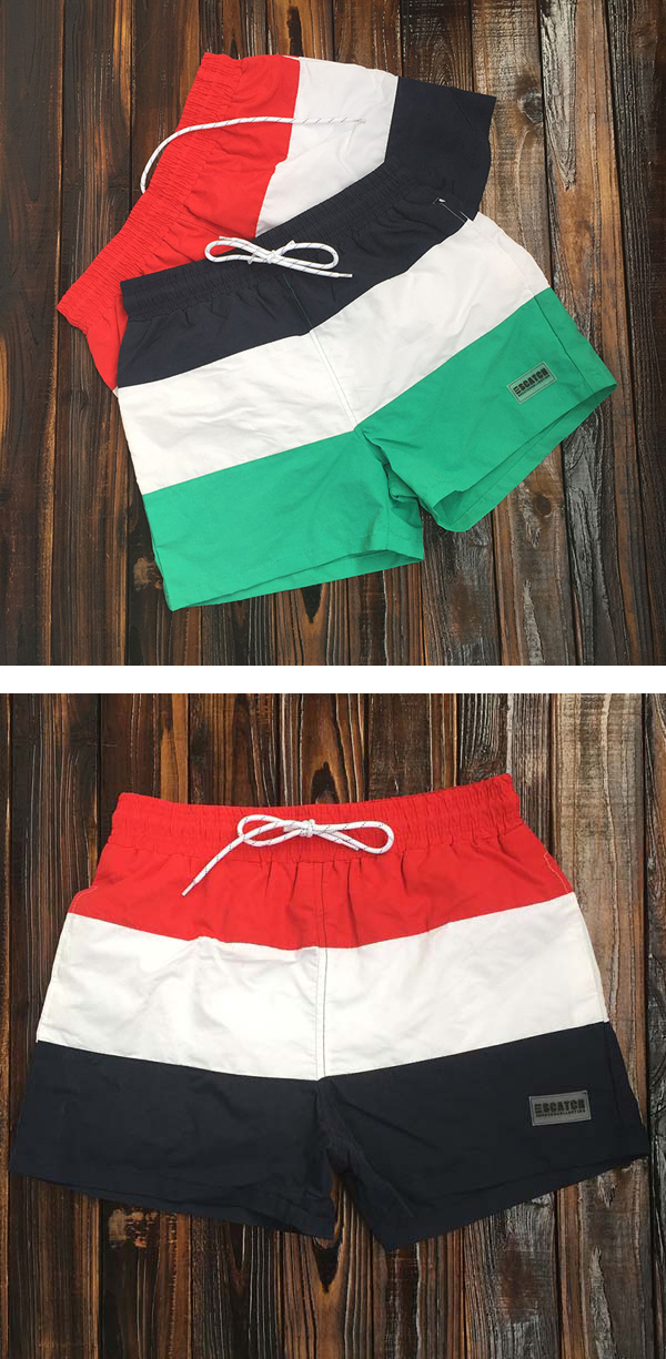 ESCATCH Mens Summer Outdoor Stitching Striped Board Shorts Sports Surf Beach Shorts