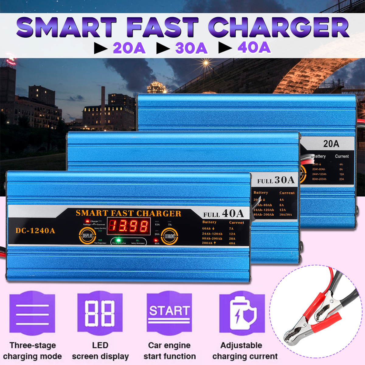 20A/30A/40A Battery Lead-acid 20Ah To 200Ah Smart Charger Multifunction For Car Motorcycle LCD Display