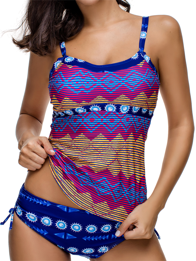 Printed Soft Stretchy Cover Belly Tankinis