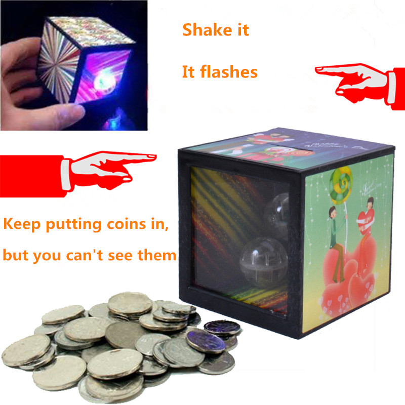 Money Saving Box Coin Disappear Flashing Balls Magic Box Prop