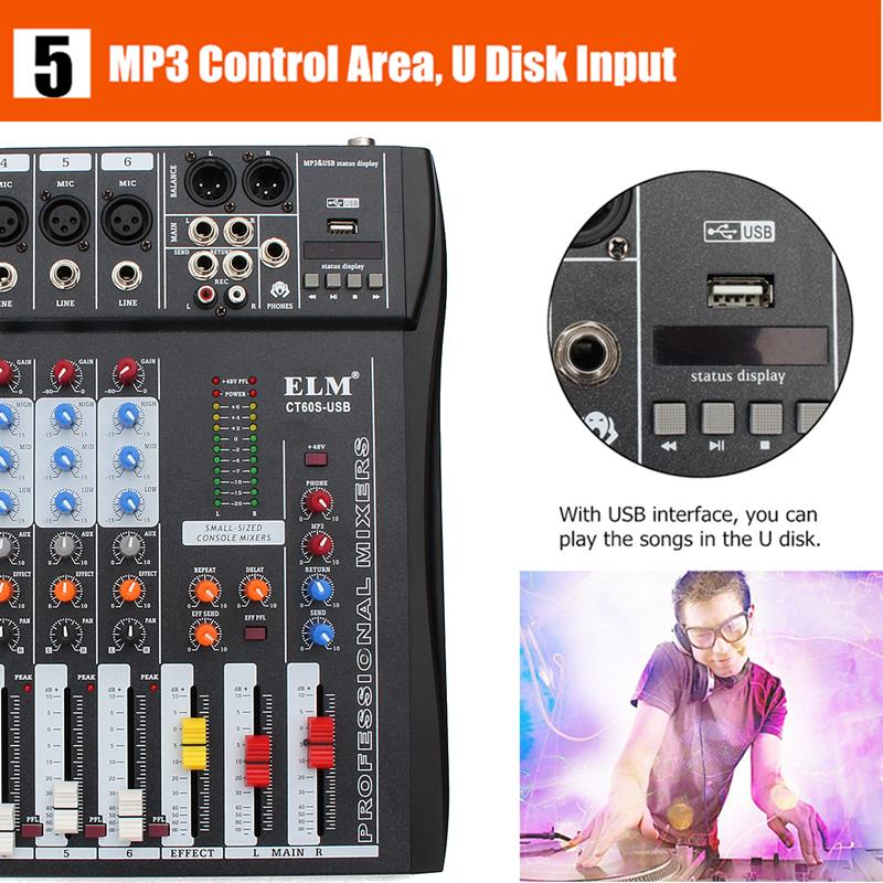 CT-60S 6 Channel Professional Live Studio Audio Mixer with 48V Phantom Console