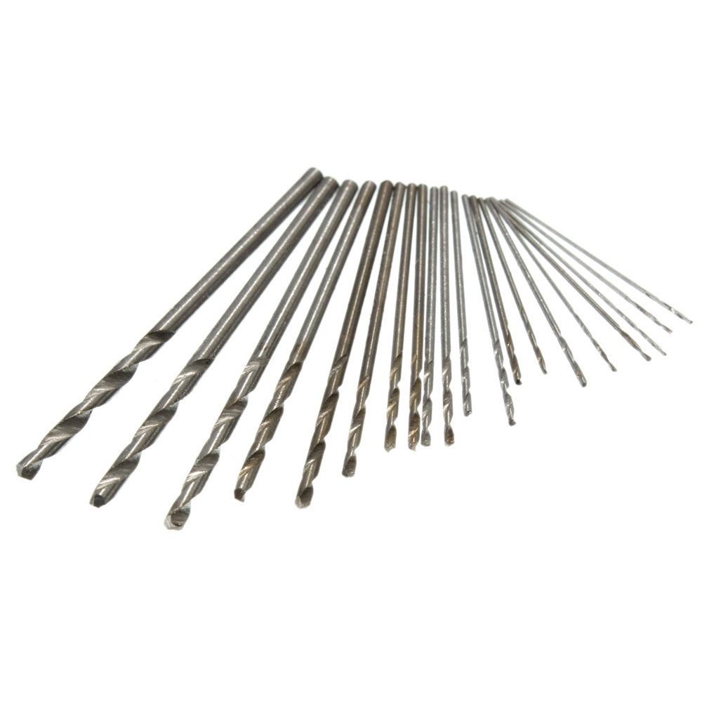 20pcs 0.3-1.6mm Micro HSS Twist Drill Bits Set Straight Shank