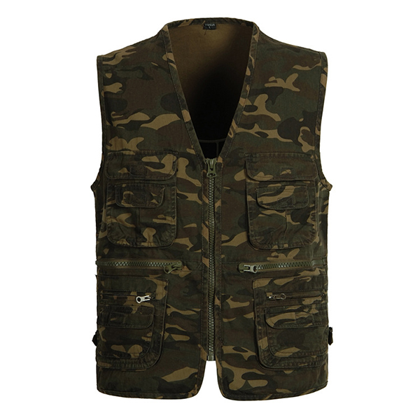 Mens Camouflage Printing Outdoor Fishing Vest Multi Pockets Cotton Waistcoats