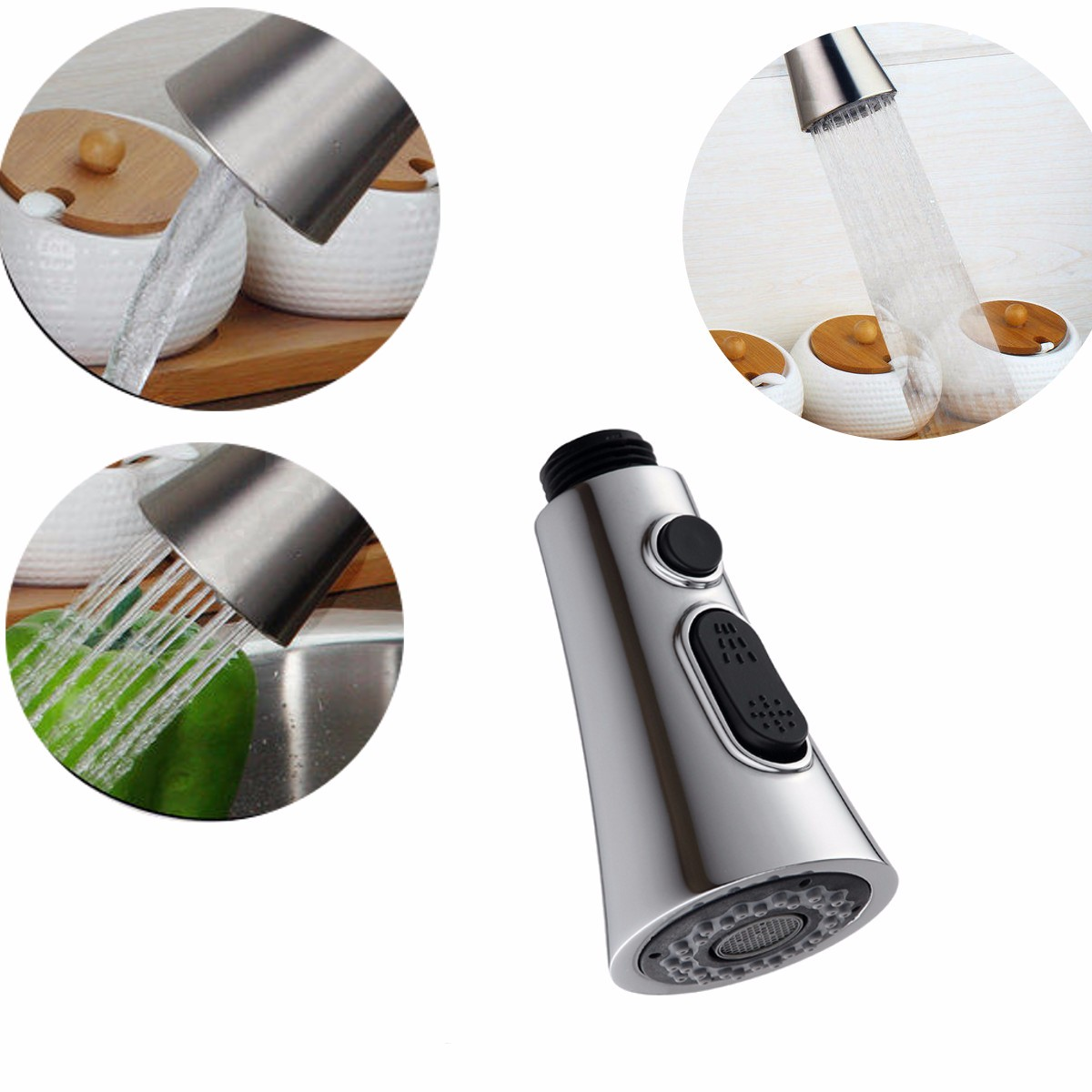 Laundry Plating Mixer Tap Faucet Pull Out Spray Nozzle For Kitchen Basin Sink